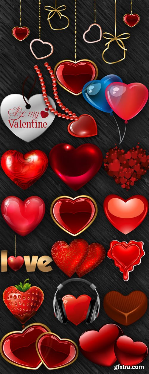 Romantic hearts on a transparent background
