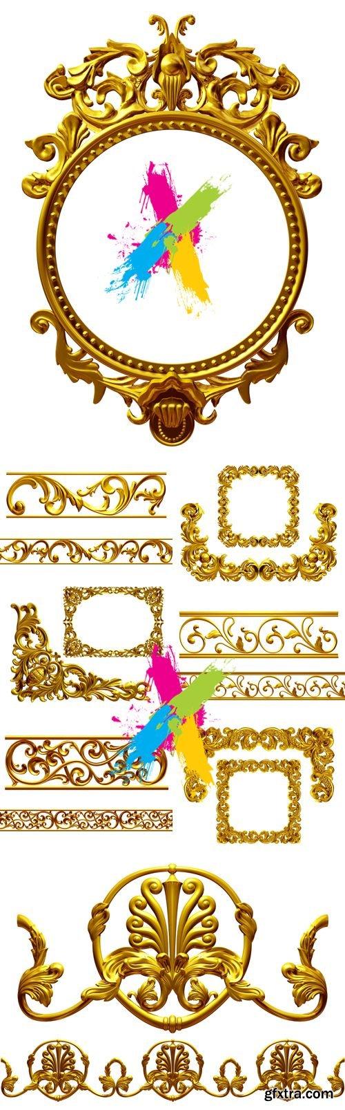 Stock Photo - Golden Frames, Borders