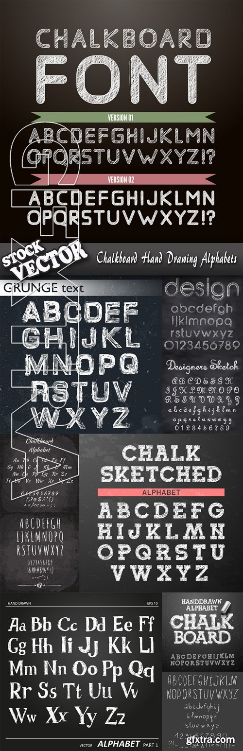 Stock Vector - Chalkboard Hand Drawing Alphabets