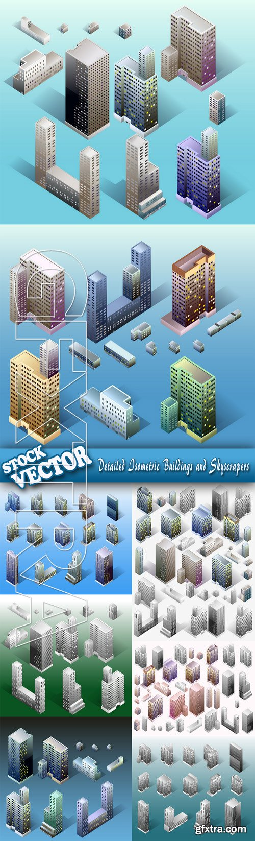 Stock Vector - Detailed Isometric Buildings and Skyscrapers