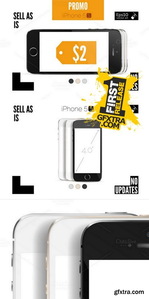 iPhone 5S Detailed Mockup - CM 170196