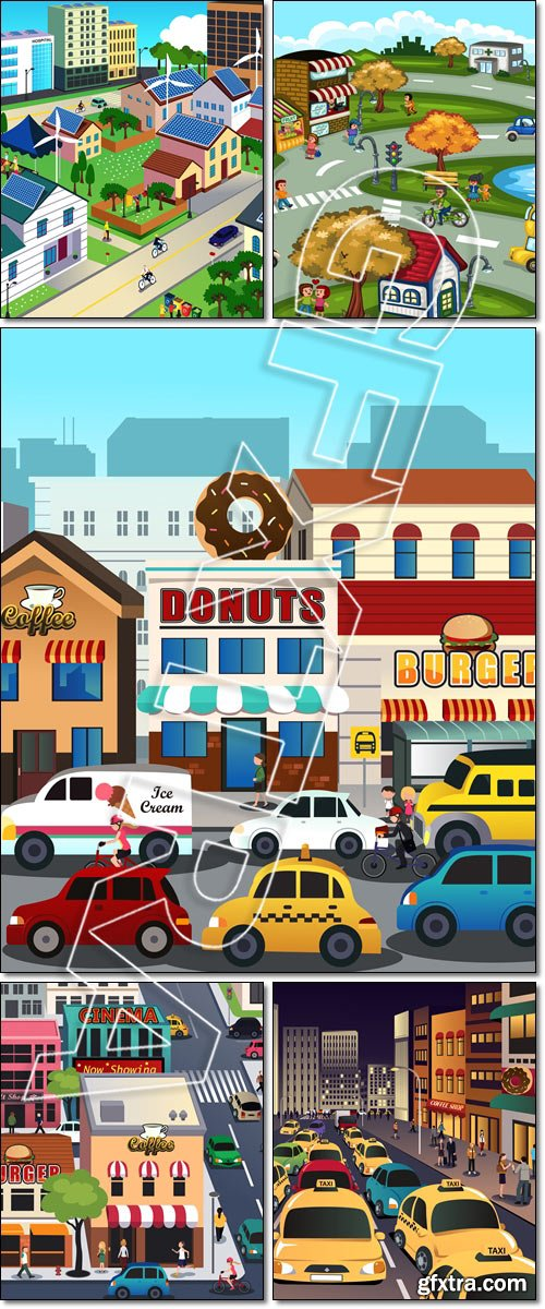City scene. Busy city in the morning - Vector
