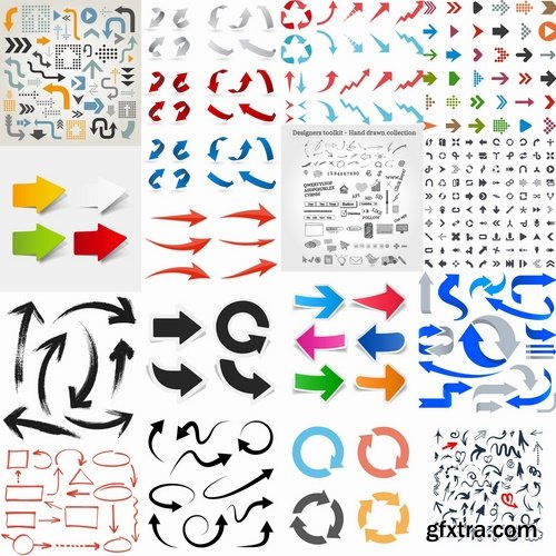 Collection of different vector image arrow 25 Eps