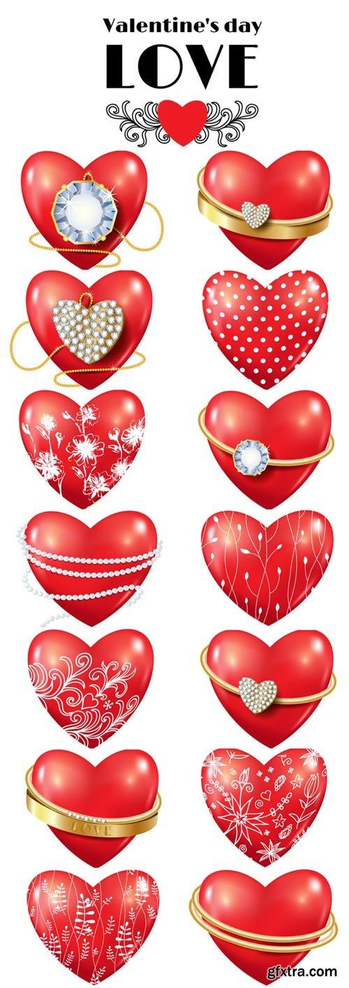 Shiny red heart Valentines vector illustration