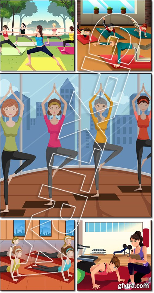 People/ Kids doing sport/ gym yoga  in a class - Vector