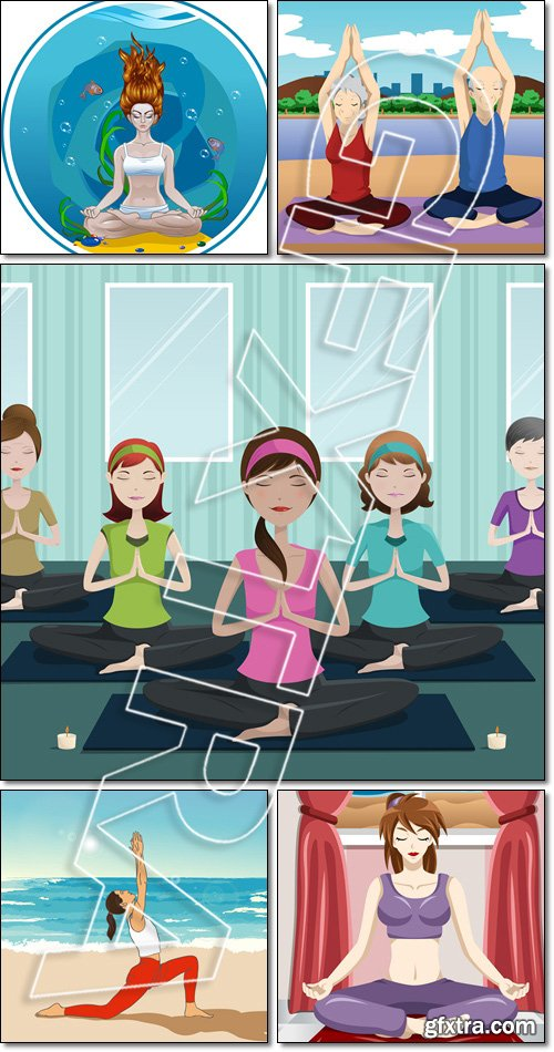 Woman doing yoga. People doing yoga in a yoga studio, on the beach - Vector