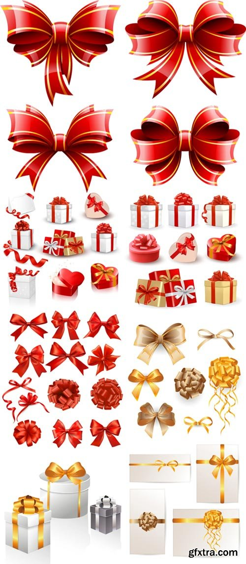 Gift boxes, ribbons and bows vector material