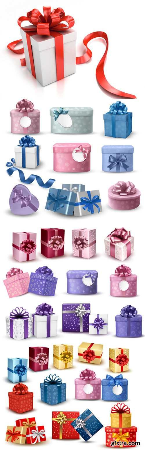 Exquisite gift box packaging vector material