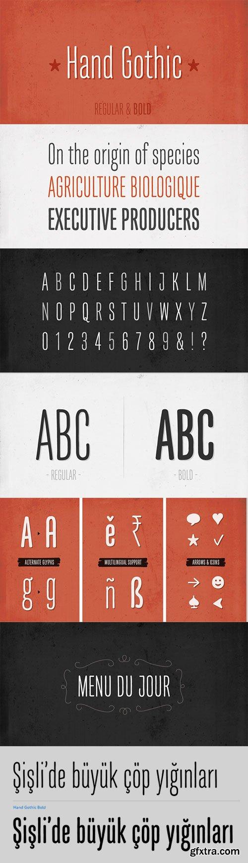 Hand Gothic - New Condensed Typeface 2xOTF $42