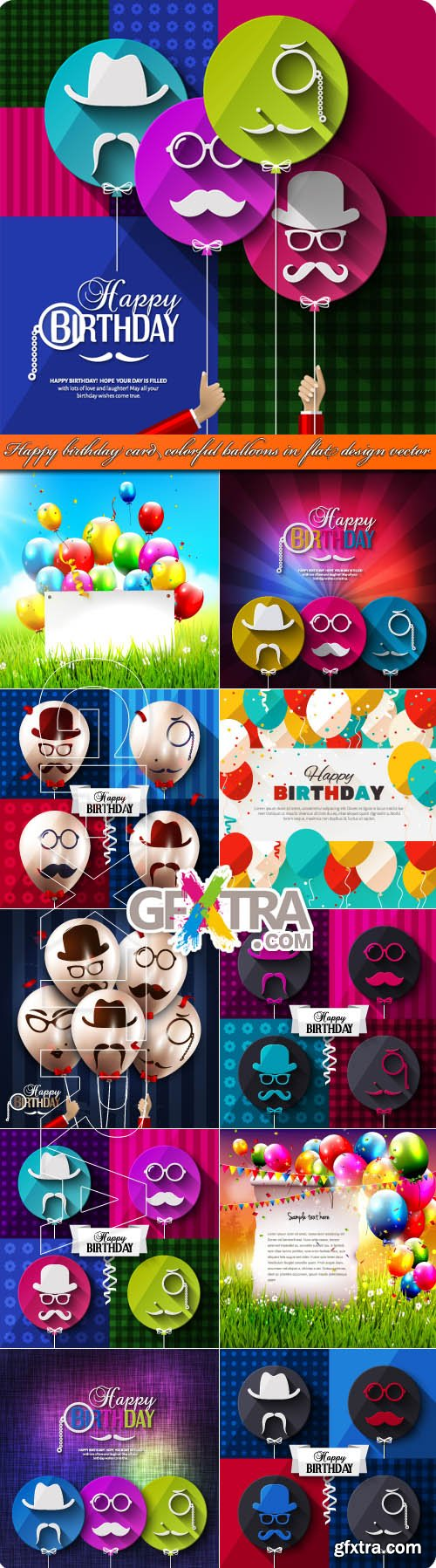 Happy birthday card colorful balloons in flat design vector