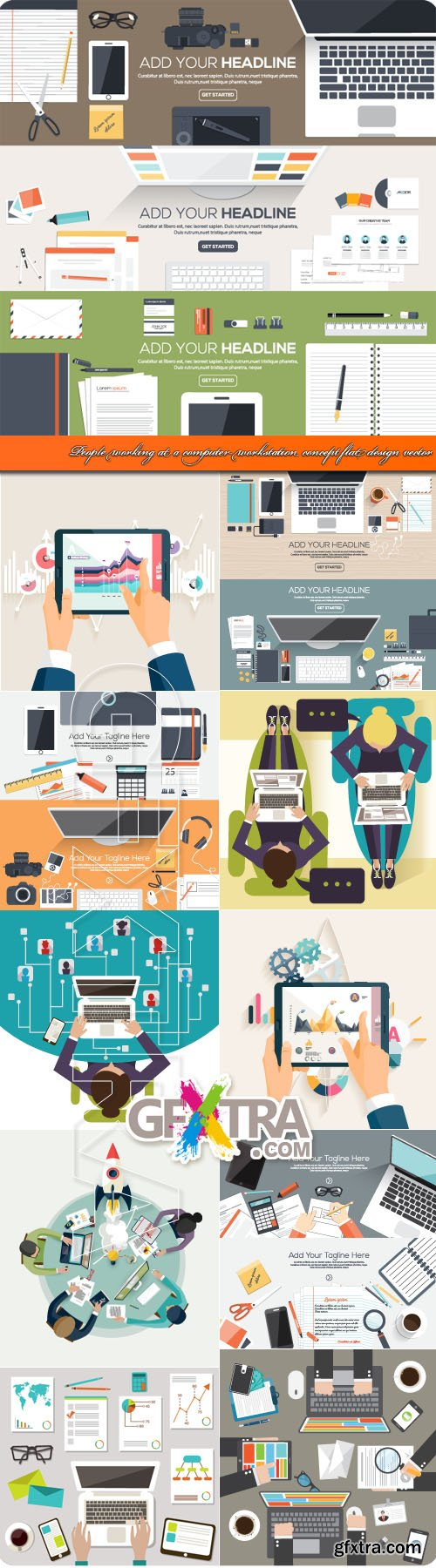 People working at computer workstation concept flat design vector