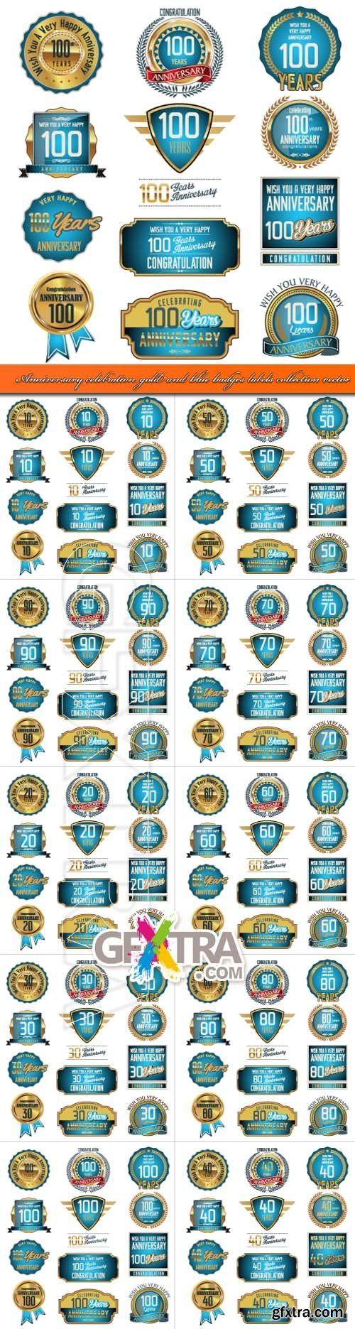 Anniversary celebration gold and blue badges labels collection vector