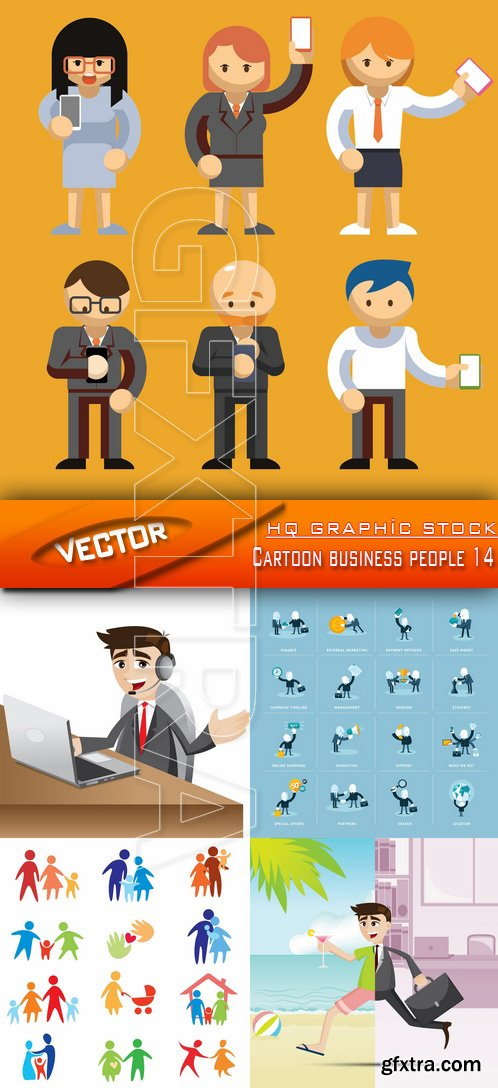 Stock Vector - Cartoon business people 14