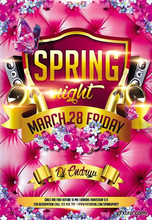 Spring Night Club Flyer PSD Template