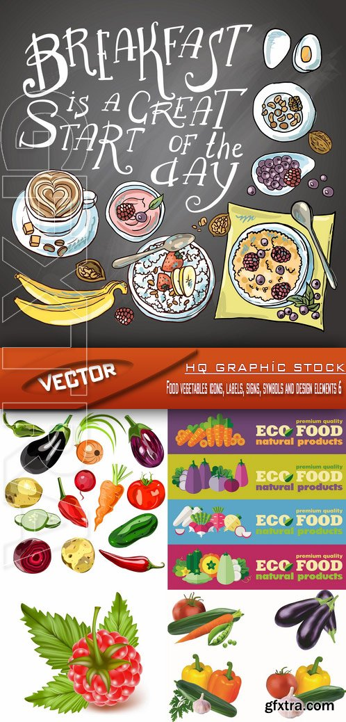 Stock Vector - Food vegetables icons, labels, signs, symbols and design elements 6