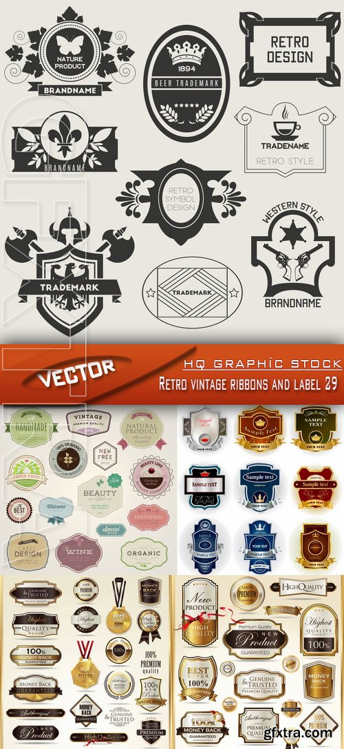 Stock Vector - Retro vintage ribbons and label 29