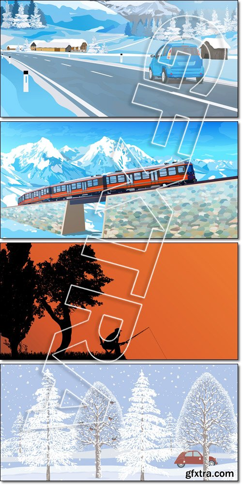 Panoramic of Landscape: car trave, silhouette of fishermen, ecology info for city, park, benches, train, alps mountains - Vector