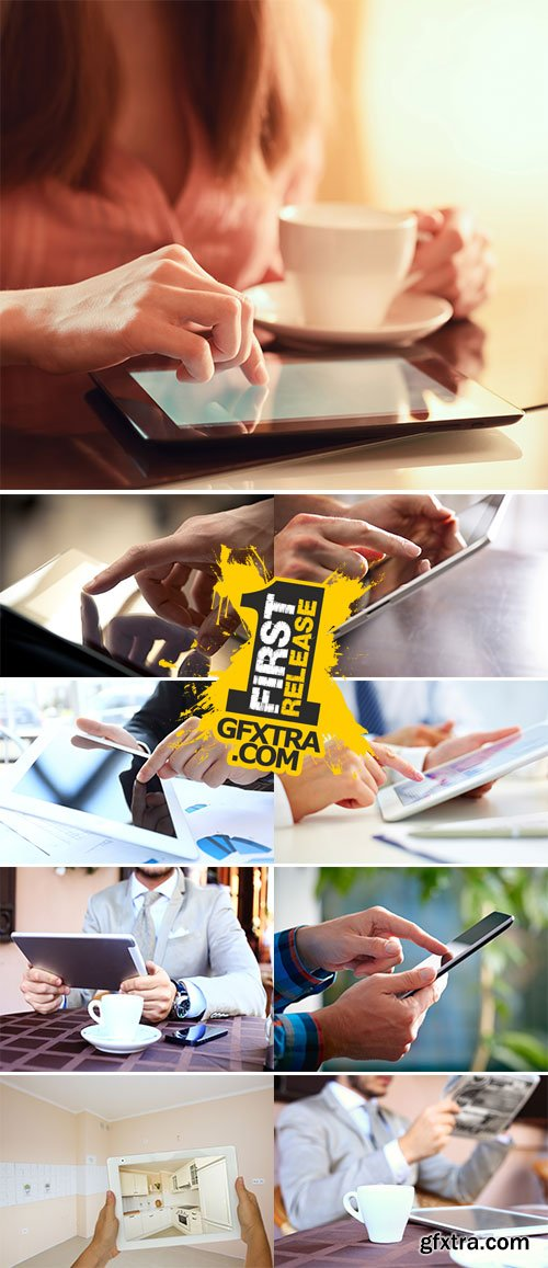 Stock Photo Hand touching screen on modern digital tablet pc