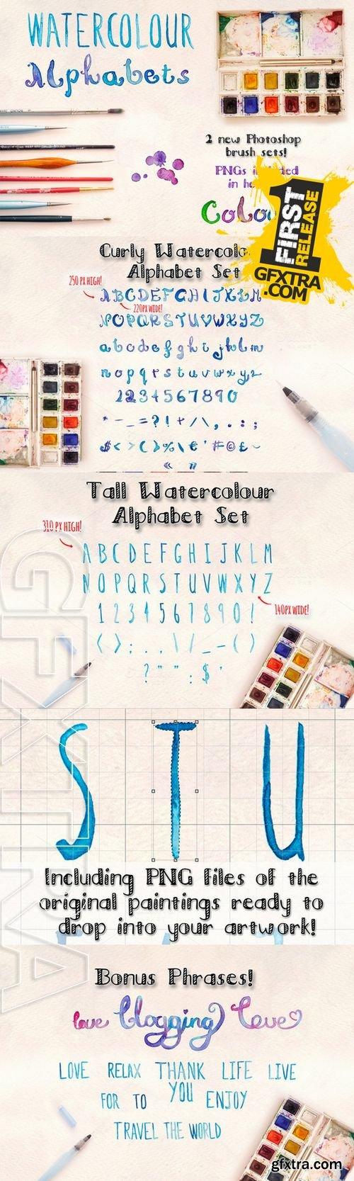 2 Watercolour Alphabet Brush Sets - CM 193392