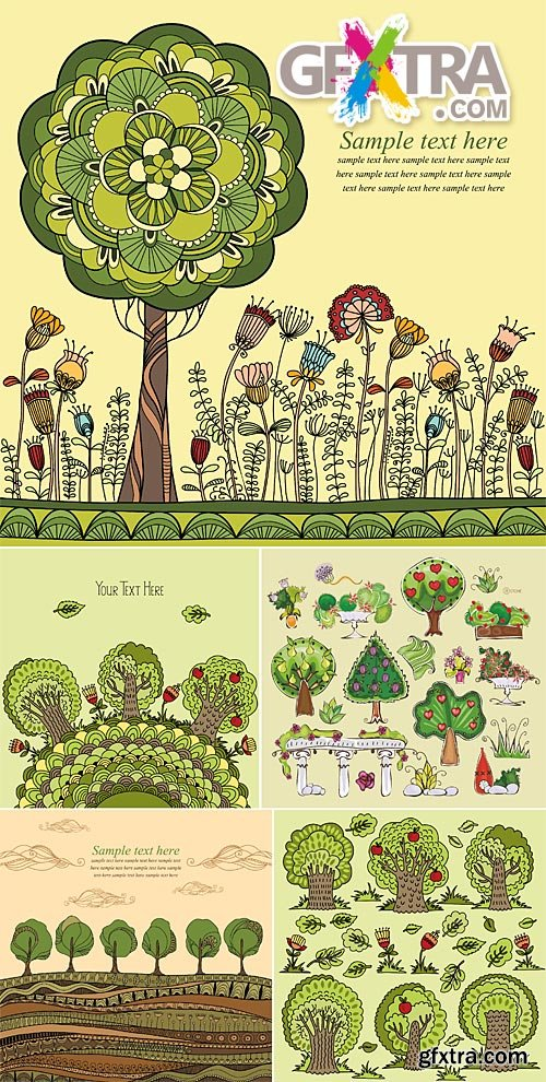 Abstract trees illustrations