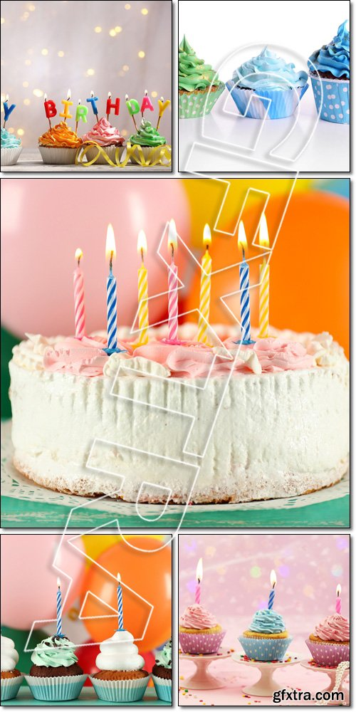 Delicious birthday cupcakes/ cake on table on light background - Stock photo