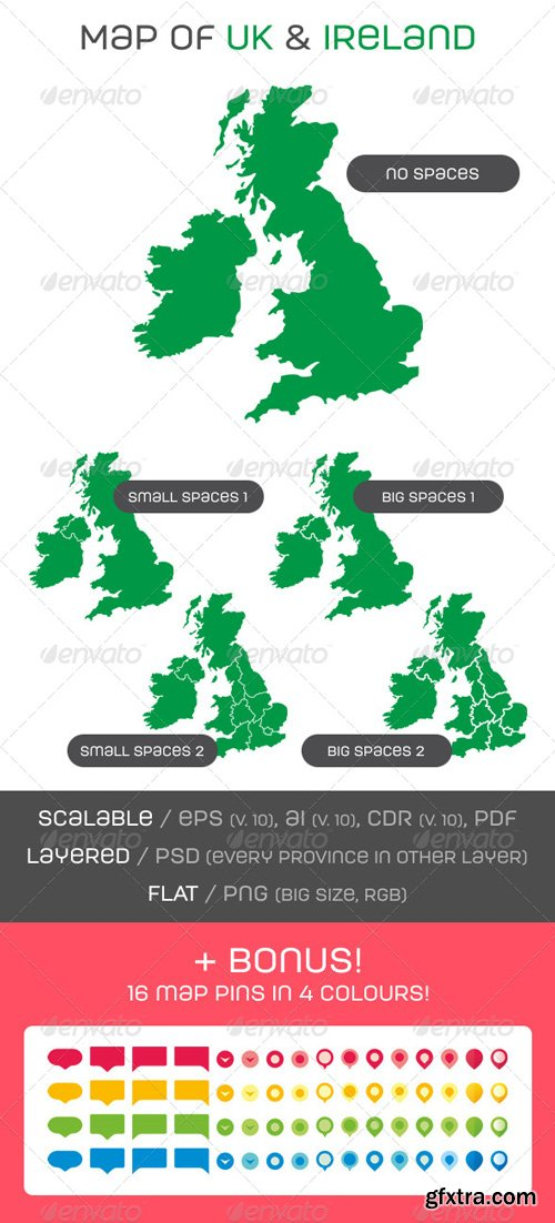 GraphicRiver - Map of UK and Ireland with Map Pins