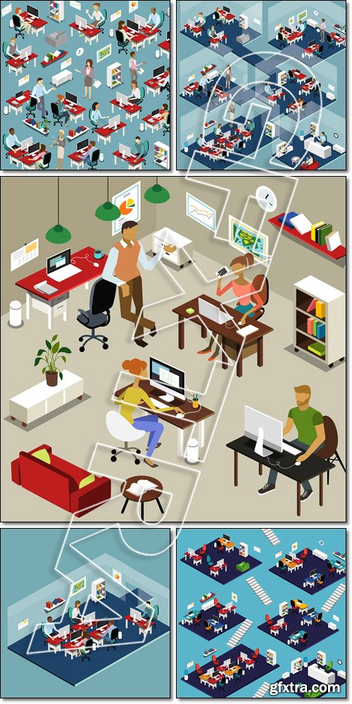 Isometric Business Office Interiors and People - Vector