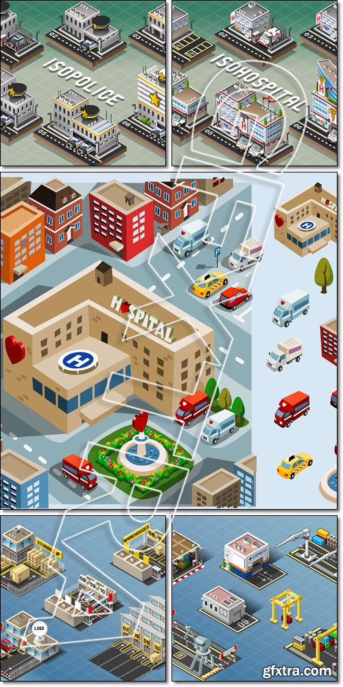 Isometric Storage Buildings, Hospital Area, Police Stations - Vector