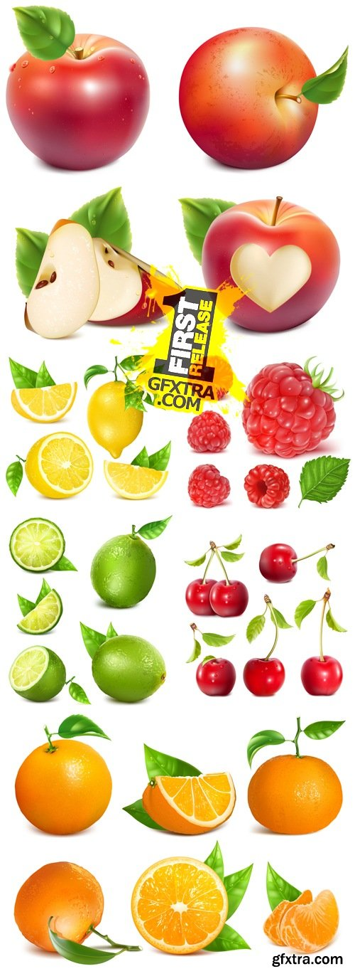 Realistic Apple, Lemon, Lime, Cherry, Orange, Raspberry Vector