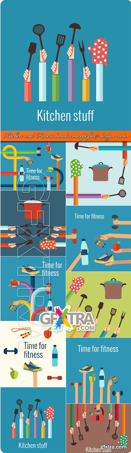 Kitchen and Fitness hands concept flat design vector