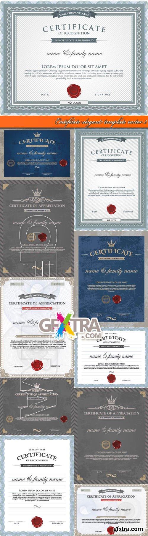 Certificate elegant template vector 3
