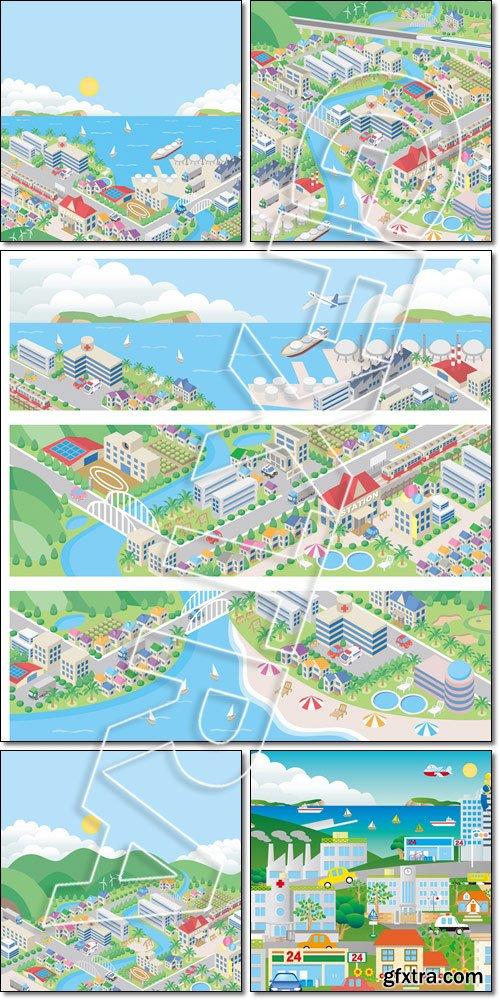 The city on Azure coast - Vector