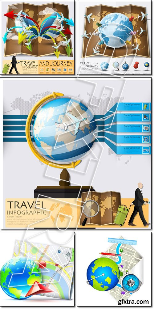Travel And Journey World Map With Point Mark Airplane Route Diag, Globe and Compass on Map - Vector