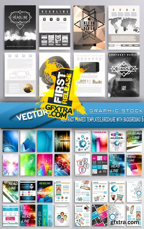 Stock Vector - Abstract painted templates,brochure with background 6