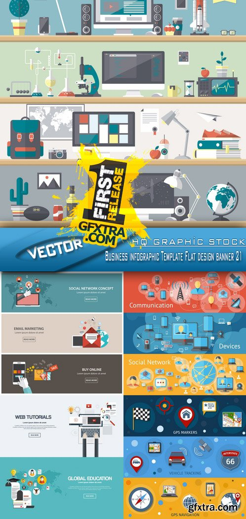 Stock Vector - Business infographic Template Flat design banner 21