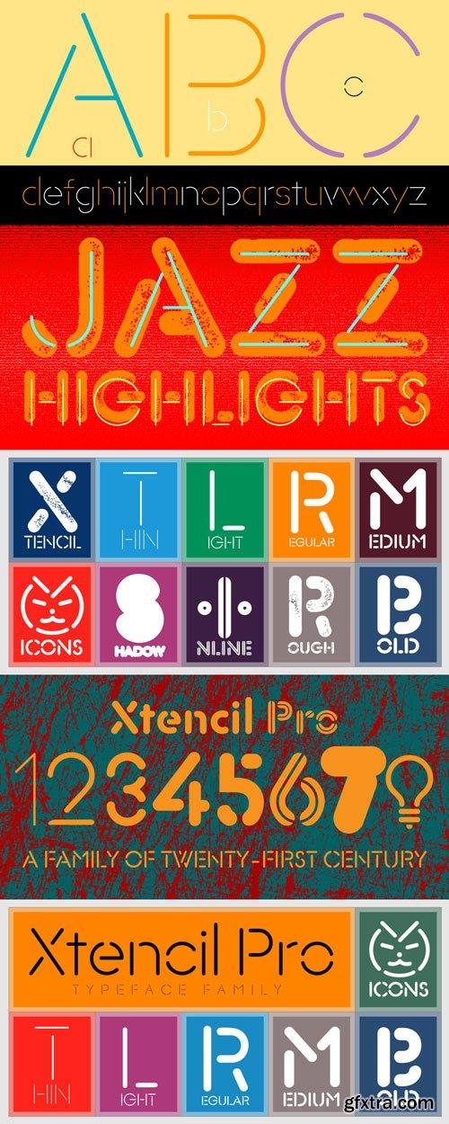 Xtencil Pro Font Family 150$