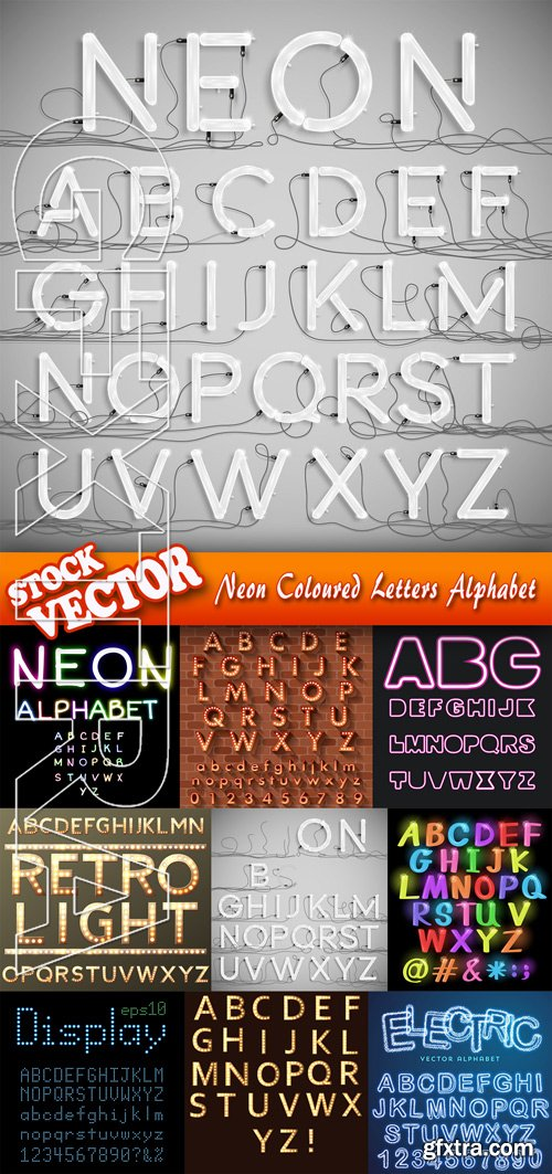 Stock Vector - Neon Coloured Letters Alphabet