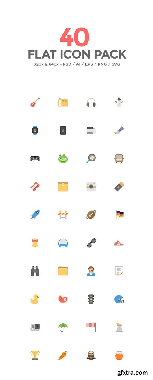 PSD, AI, EPS, SVG, PNG Web Icons - Squid.ink - 40 Flat Icons