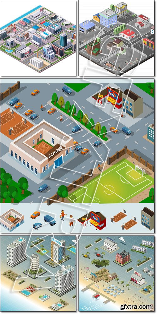Detailed illustration of Isometric: City, Buildings, Seaside - Vector