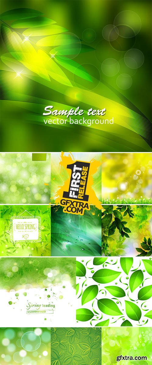 Stock Illustration with green watercolor for spring themes