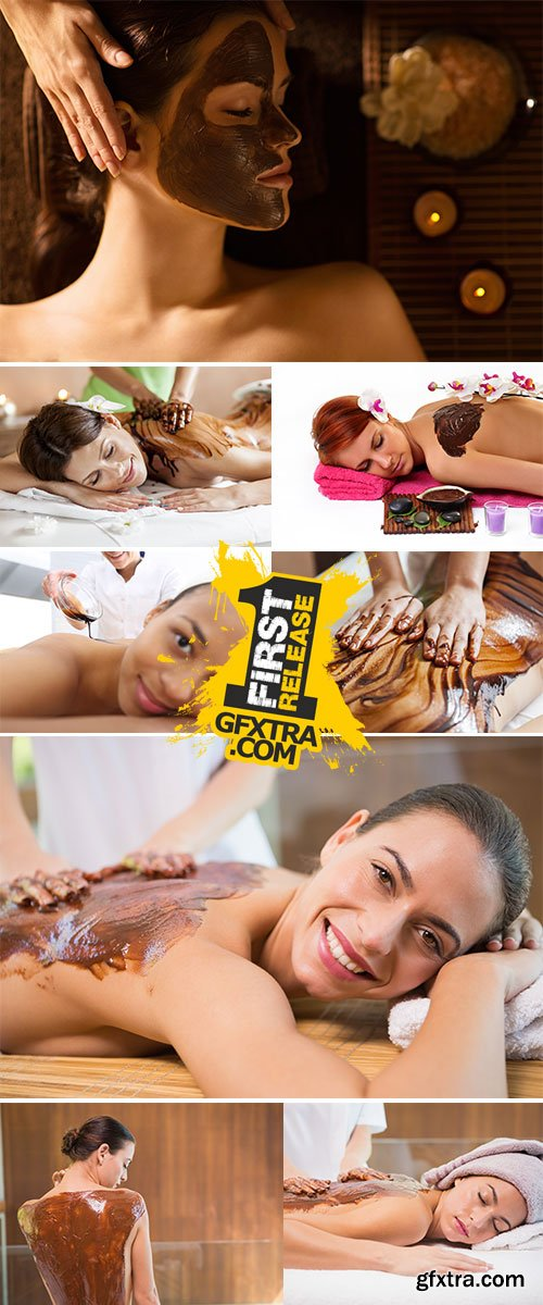Stock Photo Spa chocolate mask for legs luxury treatment