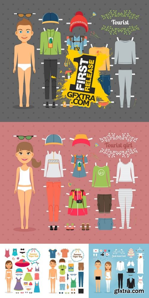 Vector - Paper People with Dress and Hat