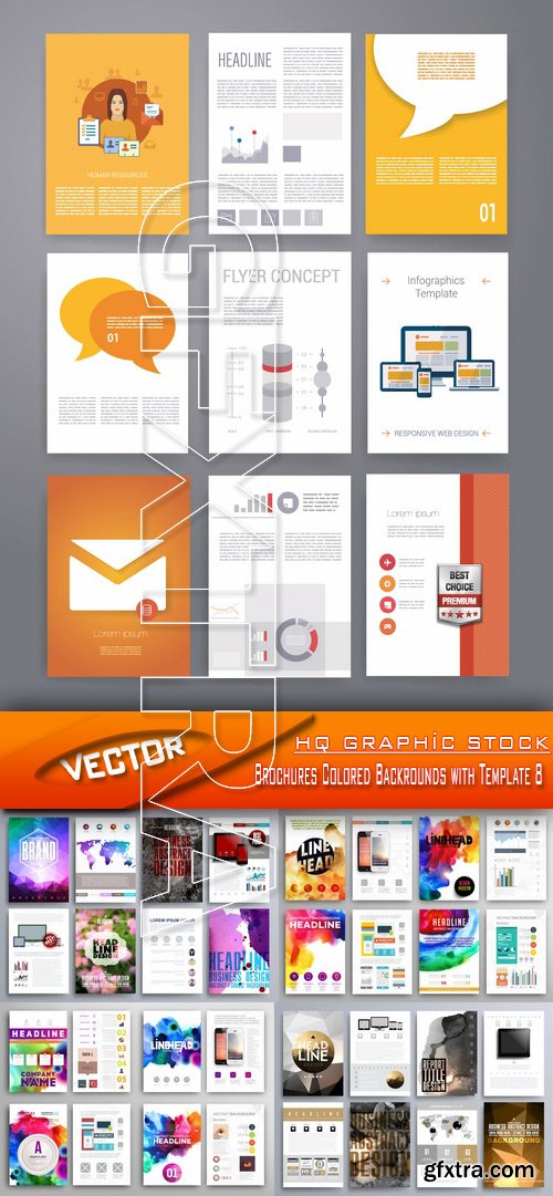 Stock Vector - Brochures Colored Backrounds with Template 8