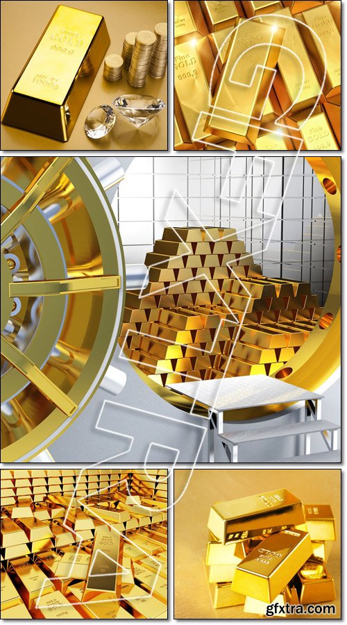 Great amount of Golden bars - Stock photo