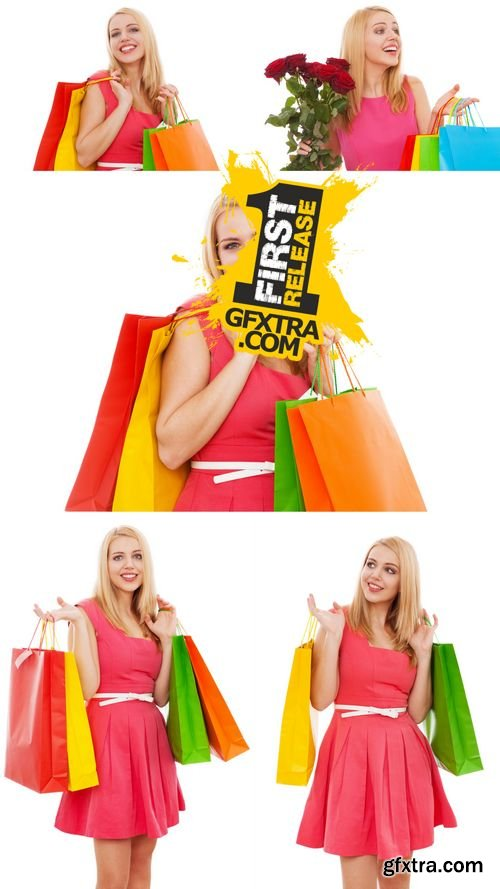 Stock Photos - Young Beautiful Woman with Shopping Bags