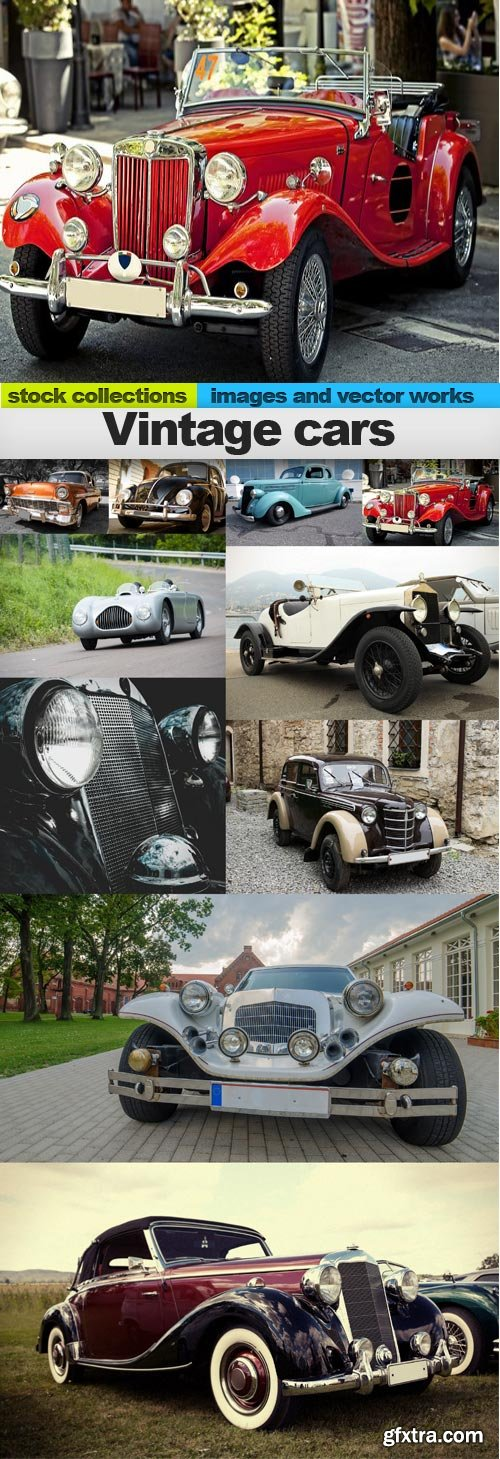 Vintage cars, 10 x UHQ JPEG