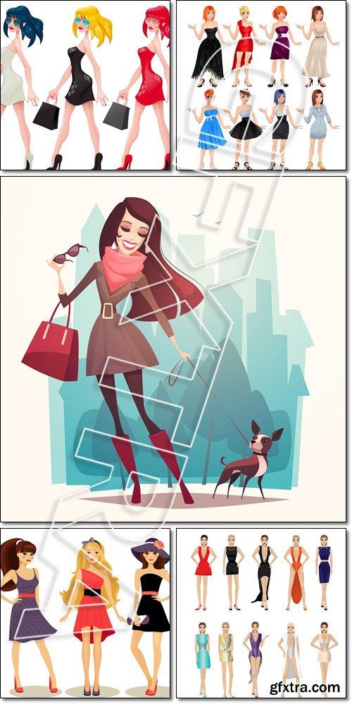 Fashion spring girls - Vector