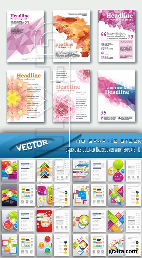 Stock Vector - Brochures Colored Backrounds with Template 10