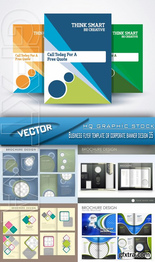 Stock Vector - Business flyer template or corporate banner design 35