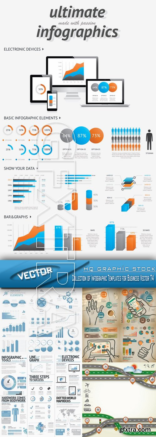 Stock Vector - Collection of Infographic Templates for Business Vector 74